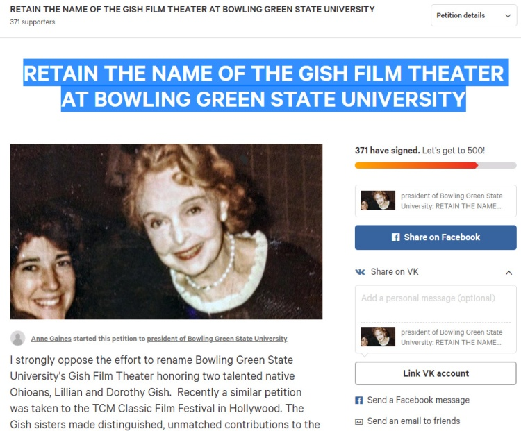 Petition to Rodney Rogers - RETAIN THE NAME OF THE GISH FILM THEATER AT BOWLING GREEN STATE UNIVERSITY