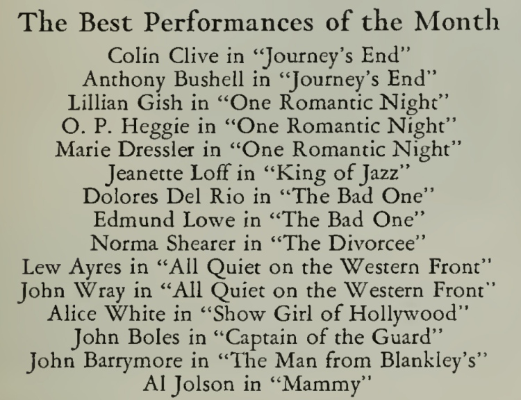 Photoplay Magazine for April, 1930 (The best performances of the month)