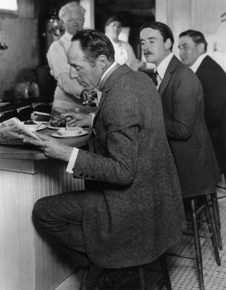 d.w. griffith and robert harron taking a lunch break during the filming of the birth of a nation