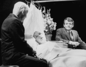 """(L-R) Alan Webb, Lillian Gish, Hal Holbrook in a scene from the Broadway production of the play """"I Never Sang For My Father""""."""