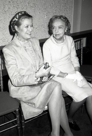 Princess Grace Kelly and Lillian Gish attend the Theatre Hall Of Fame Awards held on March 28, 1982 at the Uris Theater, now called the Gershwin Theater, New York City