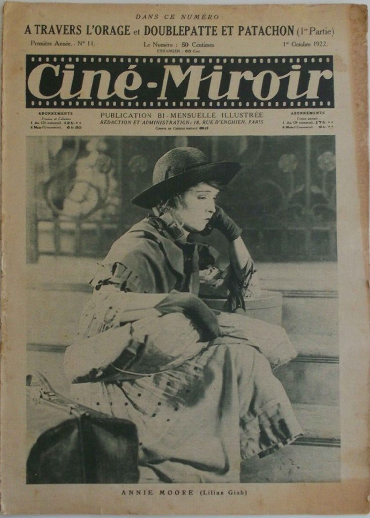 Cine Miroir Octobre 1922 - Way Down East - Lillian Gish