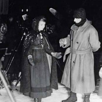 """""""Way Down East"""" - Lillian Gish and D.W. Griffith on set (Vermont)"""